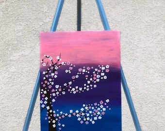 Cherry Blossom Acrylic Painting on Flat Canvas