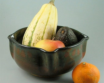 Thrown and Altered Pottery Bowl - Black, Red and Ivory
