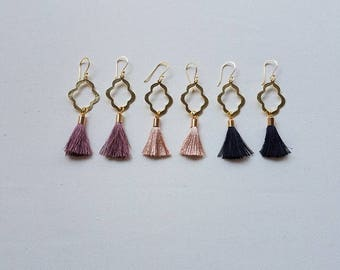 Gold Quatrefoil Earrings | Tassel Earrings | Brushed Gold Earrings | Minimalist Earrings | Quatrefoil Earrings | Simple and Dainty
