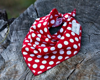 Red Polka Dots Dog Bandana, Polka Dots Dog Bandana