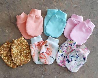 Baby Mittens, Jersey knit mitts, Newborn baby Mittens baby boy mittens or Baby Girl Mittens