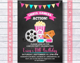 birthday invitations movie theme