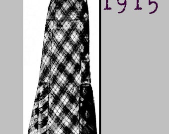 "Skirt  -  Vintage Reproduction PDF Pattern - 1910's - made from original 1915 La Mode Illustree Pattern - 30"" Waist"