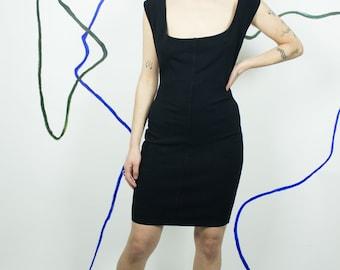ALAIA 80s Black Stretch Mini Dress SIZE LARGE Vintage Paris Body Con Open Back