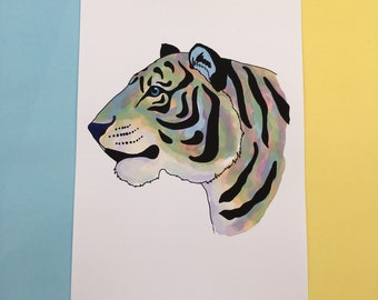"""Astro the tiger art print, 6""""x4"""", A5, A4 sizes, colourful rainbow tiger print"""