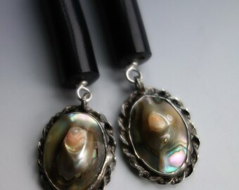 Antique Art Deco Blister Pearl Black Coral Sterling Earrings