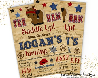 Yee Haw Rodeo Birthday Invitation Wood Horse Customizable Invitation Digital Download