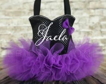 Black Sparkle Bling Ballet Purple Tutu Tote Bag - Dance Bag - Ballerina Tutu Bag - Birthday Present - Recital Monogram