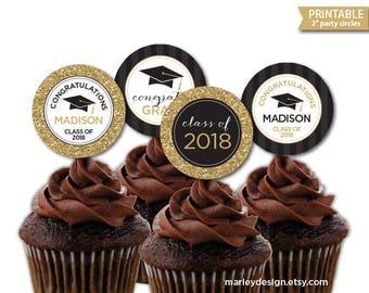 Graduation Cupcake Toppers Printable Black Gold Glitter Graduation Decorations Grad Party Decor Graduation Decor Personalized Favor Tags