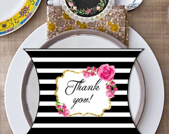 printable favor box, instant download, wedding printable, black and white, digital, cute, candy box,gift box, cookies, pillow box, Thank you