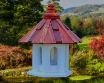 Hanging bird feeder shake roof white