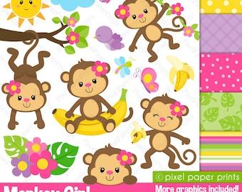 Monkey Girl - Clipart and Digital paper set - Monkey clip art
