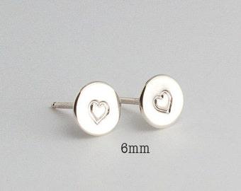 6mm Heart Studs, Heart Earrings, Minimalist Geometric Earrings, Jewelry, Earrings Silver Studs, Heart Studs, Small Earrings, 6mm