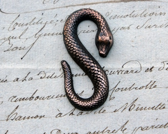 Vintage French Brass Stamping/Antique Style/Snake/Serpent/S Clasp/S shape/French Findings
