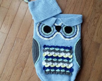 crochet owl cocoon and hat set