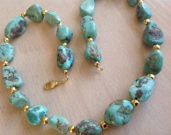"""Vintage Necklace Turquoise Natural Blue Green Chunky Gold Tone 20"""" Beautiful"""