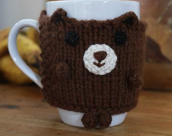 Bear mug cosy (mug included; hand knitted)