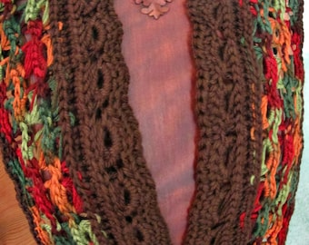 "Crochet Luxurious Broomstick Autumn Lace Scarf PDF Pattern, Long and Sleek and Warm Autumn Scarf 60"" x 5"" (152 cm x 13 cm) approx"