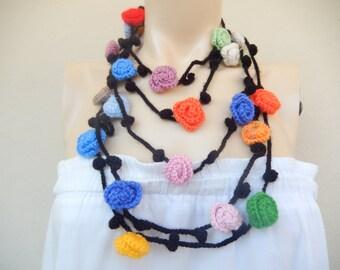 Black Crochet Scarf-Ivy Rose  Scarf-Lariat Scarf-Handmade Long  Scarf -Crochet Jewelry Scarf