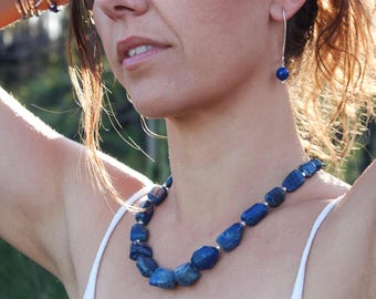Statement Chunky Step-Cut Lapis Necklace with Thai Hill Tribe Silver - Beaded Gemstone Necklace - Lapis Jewellery - Gemstone Jewelry