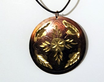 Bronze and Gold Medallion Necklace