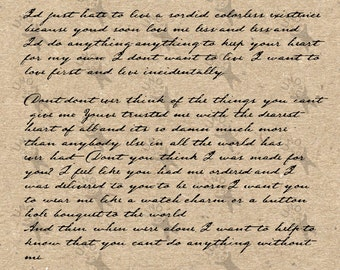 Vintage image handwriting Old letter picture Instant Download printable clipart digital graphic for scrapbooking, decor etc HQ 300dpi