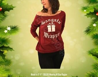 Gangsta Wrapper, Raglan Sleeve Sweatshirt, Off Shoulder Sweatshirt, Raw Edge Sweatshirt, Girls Sweatshirt, Warm Sweatshirt,Maroon Sweatshirt