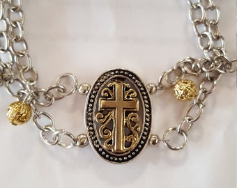 Gold and Silver Cross  Charm bracelet