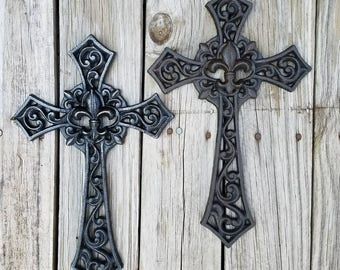 Wall cross, cast iron cross, Fleur De Lis cross, french appeal cross, wall decor, ornate cross, rustic cross, ornate, iron anniversary gift