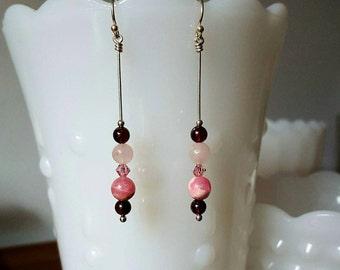 "Garnet Earrings with Rose Quartz & Rhodochrosite, Sterling Silver, LIMITED EDITION, Swarvoski Crystals, 3"" long, Pink gemstone earrings#S366"