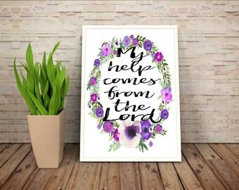 Psalm 121:2, Bible Verse Art Prints, Floral Scripture Wall Art, Floral Bible Verses, Purple Floral Wall Art, Lavender Art, Purple Decor