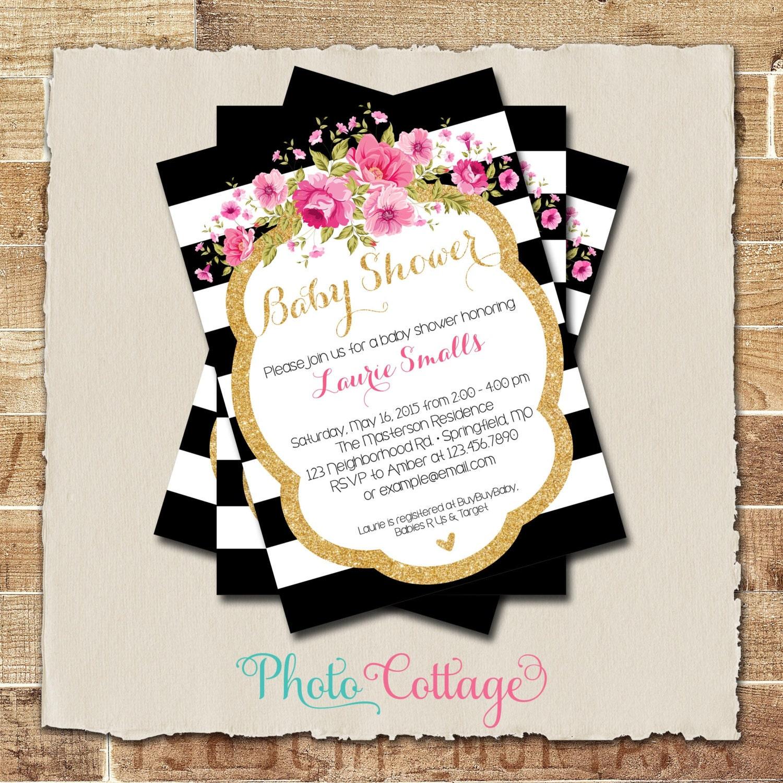 Baby Shower Invitation Glitter Gold Pink Invitation Baby