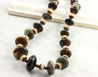 Green and Brown Necklace, Large Bead Jewelry, Jasper Beads, Rich Fall Colors, For Her
