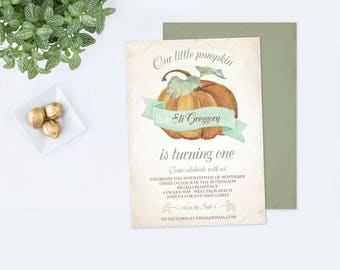 Halloween Pumpkin Invitations, Our Little Pumpkin, Pumpkin Birthday, First Birthday Editable Fall Birthday, Halloween Party, Pumpkin Invite