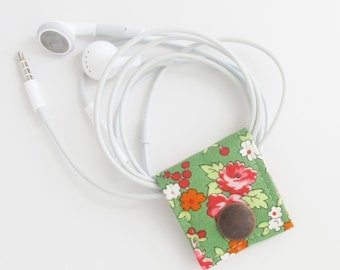 Small Cord Keeper | Floral cotton print fabric earbud cord organizer holder for small cords and cables.