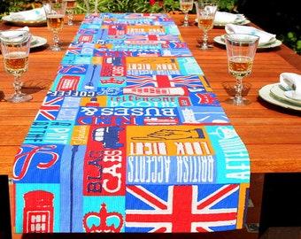 London Union Jack Table Runner Lettering British Table Runner Rainbow Cotton Table Runner Retro Party Dining Table British Table Top Runner