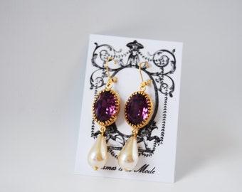 Purple and Pearl Earrings, Amethyst Swarovski Crystal Earrings, Dark Purple Rhinestone Earrings, Regency Jewelry, Amethyst Crystal Jewelry