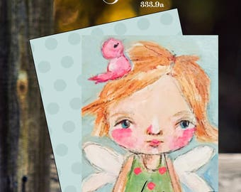 Custom hand drawn and painted little girl bird love you pencil sketch custom cards folded notecards
