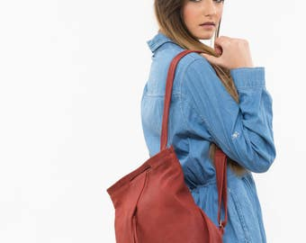 Leather red backpack, Soft leather backpack, Red messenger backpack, Red bag, Red Leather laptop backpack, Red leather rucksack
