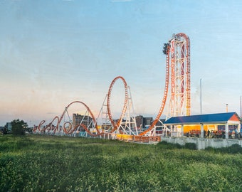 Coney Island, 'Thunderbolt' Fine Art Photography, Limited Edition, Image Transfer on Wood Panel by Patrick Lajoie, amusement park