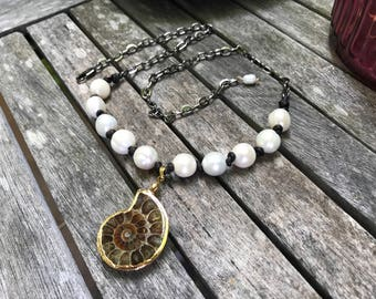 White Pear Necklace, Nautilus Shell, Beach Jewelry, Mixed Media Jewelry, Nautilus Pendant, Leather Necklace, Statement Necklace, Fossil
