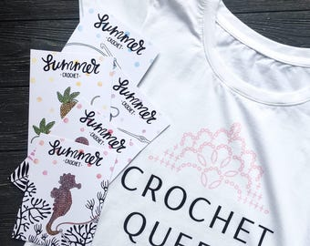 Crochet queen,Crochet t-shirts,Crocheter t shirts,Crocheter tee,T-shirt,Crocheting,Crochet,Crocheter gift,Gifts for crocheters,Postcard