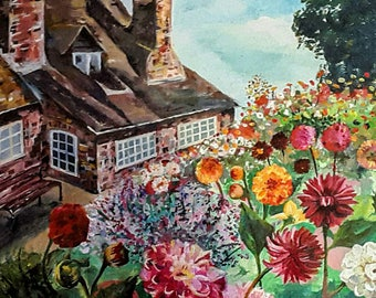 Cottage Painting, Fine Art Print, Acrylic Painting, Giclèe Print, Acrylic Print, Canvas, Digital Printing, Summer Garden, Flowers, Flower.