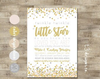 Twinkle Twinkle Little Star Baby Shower Invitation, Gender Neutral Invite, Little Star Baby Shower Invite, Baby Shower, Gold, Silver, T4