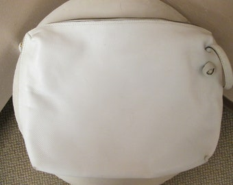 Vintage Bottega Veneta white leather crossbody shoulder bag