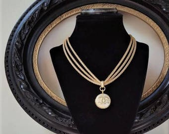 Designer  Button Necklace, Multi Chain Necklace Satin Gold Choker with Iconic Designer Insignia, Button Jewelry veryDonna