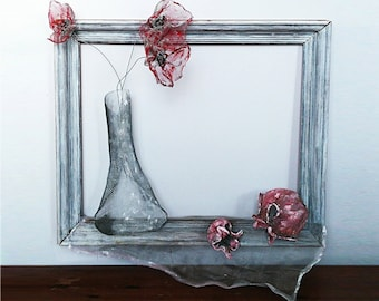 OOAK Pomegranate & Flowers Rosh Hashana Wall Hanging Sculpture Framed Picture 3D