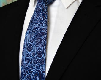 Blue Necktie – Mens Navy and Blue Tie, Also Available as a Skinny Tie.