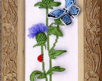 Thistle and Butterfly Stumpwork Embroidery Kit-stumpwork-embroidery kit-Julie Anne Designs