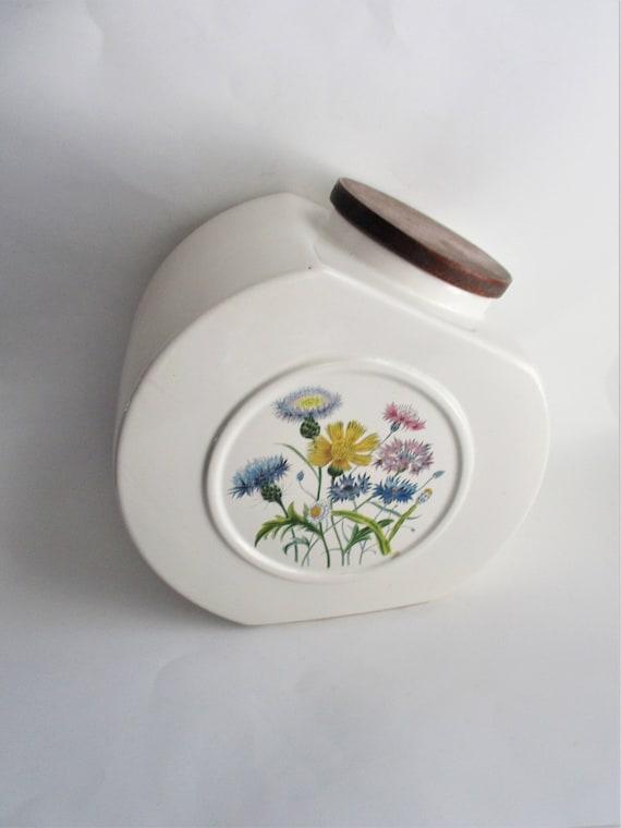 & Vintage Cookie Jar Hyalyn Pottery Wildflower Porcelain Jar